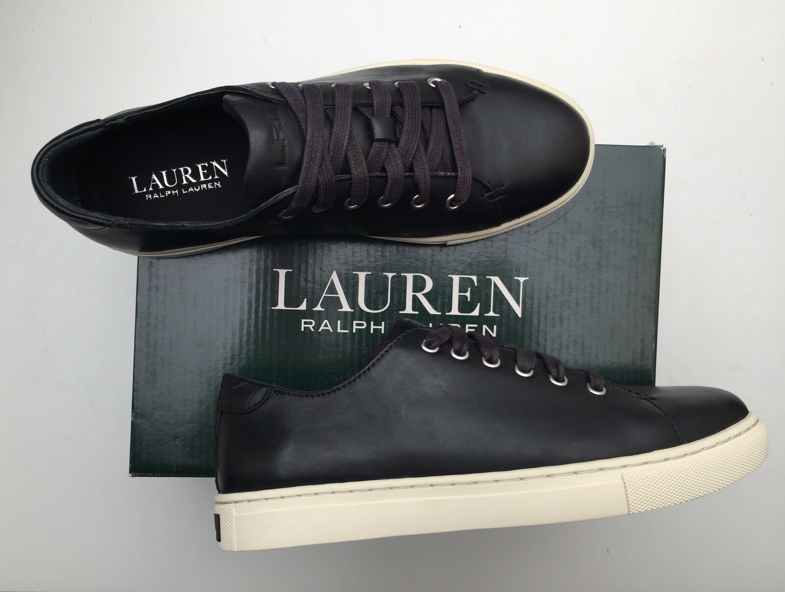 BNIB LAUREN BY RALPH LAUREN WAVERLY LEATHER TRAINERS 6.5 Guaranteed Original