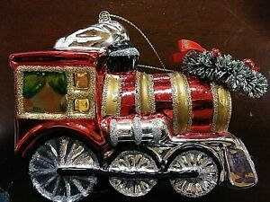 Sparkling-Glittered-Glass-Macy-039-s-Christmas-Train-Xmas-Wreath-Christmas-Ornament