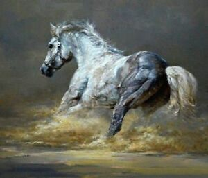 LMOP253 home decor art 100% hand-painted animal horse OIL PAINTING on CANVAS