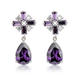 Multi-Stone-Purple-Mystical-Amethyst-Gemstone-Silver-Cross-Drop-Stud-Earrings