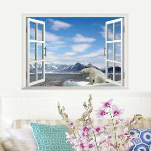 3D-Landschaft-Eisbaer-Wandsticker-Wandtattoo-Eis-Winter-Fensterbild-Wandaufkleber
