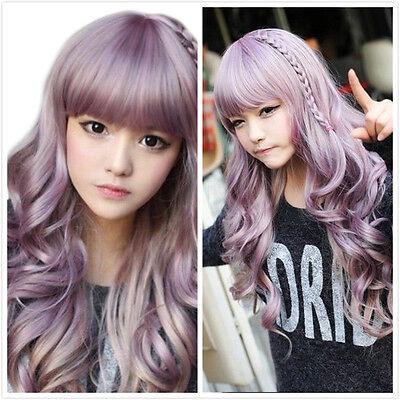 Japanese Harajuku Zippe Purple Gradient 60cm curly Lolita Cosplay Party Hair Wig