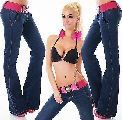 Women's Flare Leg Stretch Denim Jeans + Pink Belt - XS / S / M / L / XL