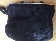 Vintage Black Fur Muff Purse Art Deco King Bullet Hardware