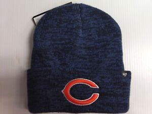 bece6486bff Chicago Bears 47 Brand Knit Hat Heathered Navy Brain Freeze Beanie ...