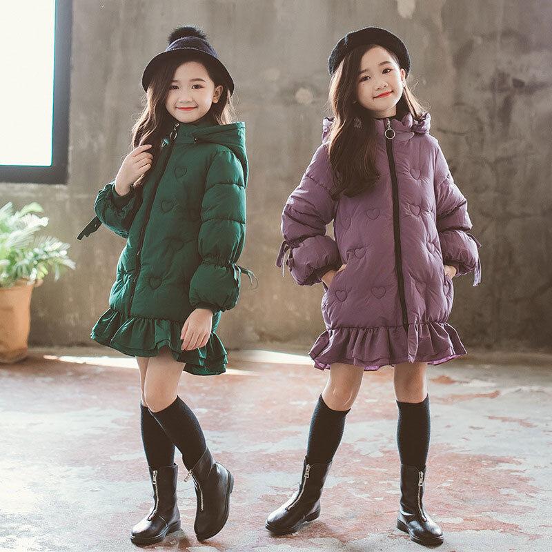Téli Gyermek Lányok Pamut Dzsekik Felsőruházat Valódi prémes Kapucnis kabát Meleg parka