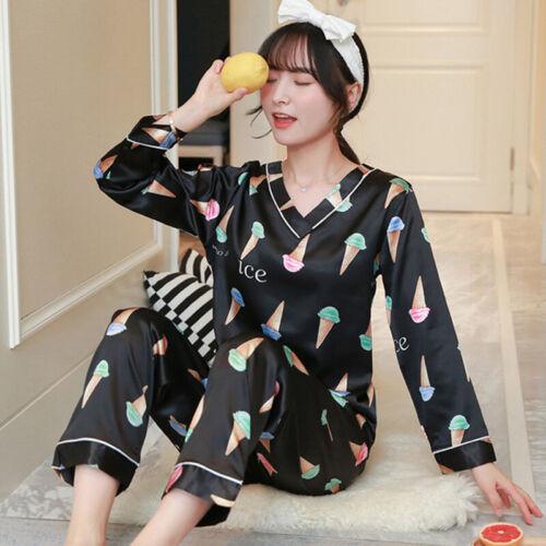 Women/'s Silk Satin Pajamas Set Long Sleeve Cute Print Sleepwear Loungewear Charm