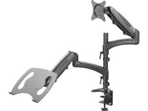 Rosewill Dual Monitor Stand and Laptop Desk Mount combo with Gas Spring Arms, Fu
