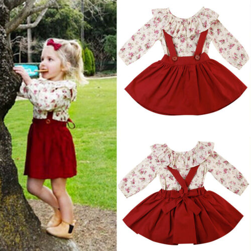 Toddler Kids Girls Ruffled Floral Tops Straps Skirt Dress 2Pcs Sets Outfits UK