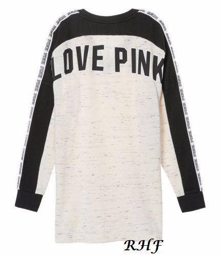 Victoria's Secret rosa Stile Stile Stile Varsity Girocollo Erica Luna Perla Nuovo e42d20