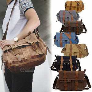 Men Canvas Leather Satchel School Military Shoulder 14
