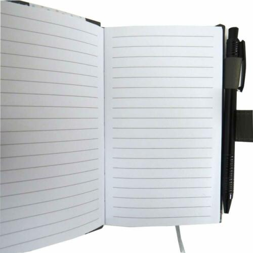 Slim Faux Leather Pocket Size Closing Notebook with Pen Set Black Grey