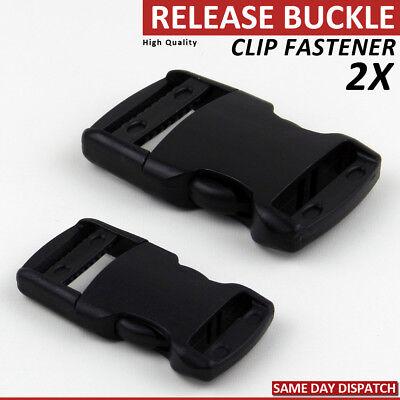 25mm//38mm BLACK PLASTIC SIDE RELEASE BUCKLES//SLIDERS WEBBING BAGS STRAPS BULKBUY