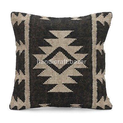 "Jute Handmade Indian 18x18/"" Throw Pillowcase Kilim Jute Decorative Cushion Cover"