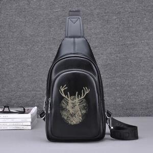 Men-039-s-Faux-Leather-Sling-Bag-Chest-Pack-Shoulder-Backpack-Daypack-Single-Strap
