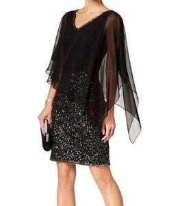 J-Kara-Women-039-s-Sheath-Dress-Black-Size-14-Embellished-Cape-Overlay-259-310