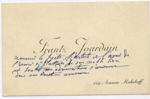 Lettre Manuscrite Frantz Jourdain Sur Carte De Visite