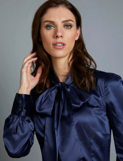 3f5248b50d2fd6 Womens Ladies Fitted Pussy Bow Long Sleeve Elegant Formal Blouse Satin Top