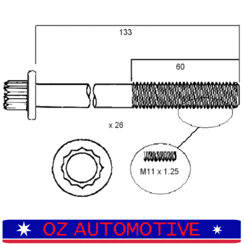 70 50 1HZ Head Bolt Set for Toyota Landcruiser HZJ105 Coaster HZB30 73 75