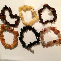 Bracelet Lot Of 6 Natural Polished Stones By Earth Nuggets Stretch Bracelets