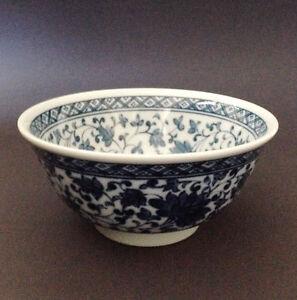 2-PCS-6-034-Japanese-Chinese-Rice-Soup-Noodle-Bowl-Blue-White-Ajisai-Made-in-Japan