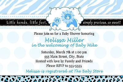 30 Personalized Lion Baby Shower Invitations Zebra Leopard Jungle Blue Boy A1
