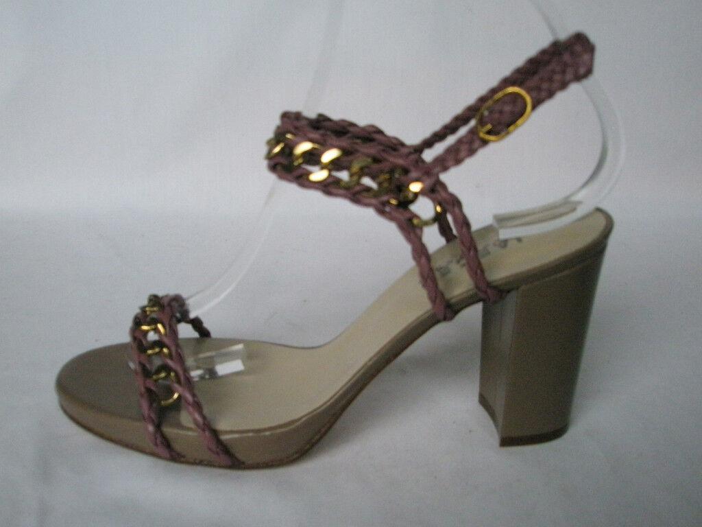 Nuevo Jaeger señoras Rosa Cadena De Cuero Sandalias con tacones de tiras Zapatos Eu 39