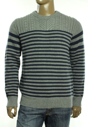 $139 New Mens Tommy Hilfiger Gray Lionel Stripe Cable Knit Crew Neck Sweater