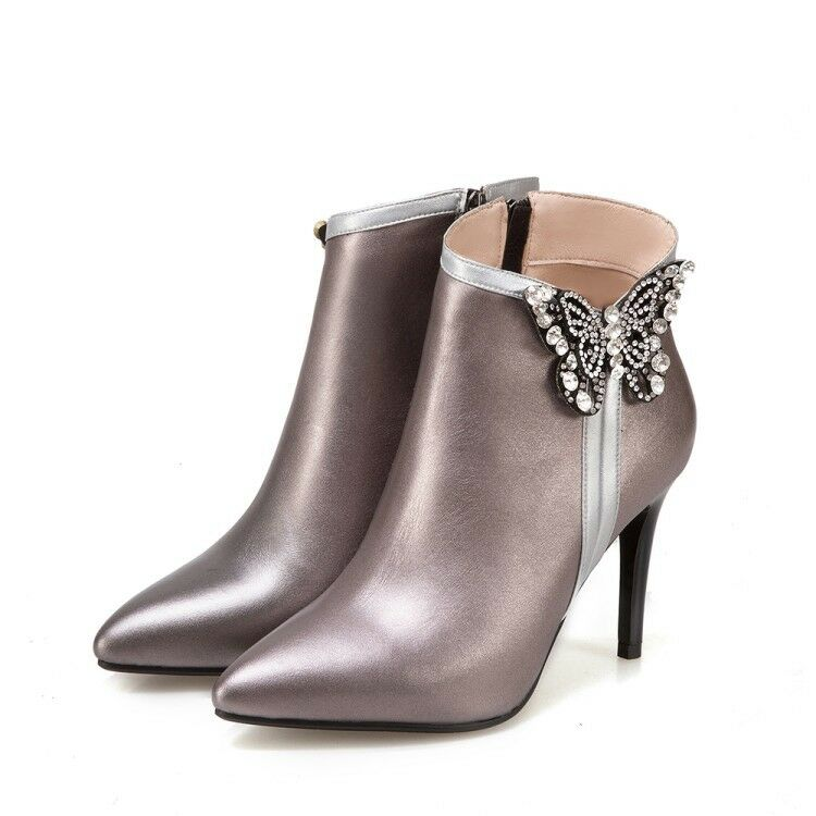 Ladies High Heel Stilettos Rhinestones Ankle Boots Pointed Toe Toe Toe Winter Warm shoes 5f885e