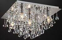 Jewel Chandelier Flush Ceiling Light Fitting Cascading Genuine Crystals Droplets