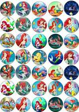 30x 4cm ARIEL MERMAID 2 /& MELODY EDIBLE WAFER//RICE PAPER CUP CAKE TOPPERS