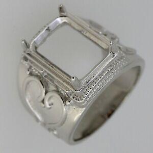 Sterling Silver Semi Mount Ring Setting Trillion Tri 10x10mm Contemporary Design