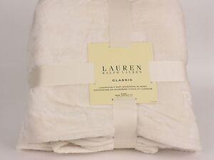 Ralph Lauren Classic Plush King Blanket MICROMINK Monogrammed Cream Ivory
