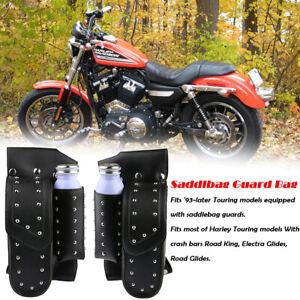 Moto-Sacoche-de-selle-Garde-Sac-Porte-Bouteille-Pour-Harley-Touring-FLHT-FLHR