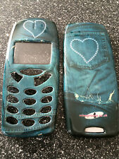 MOBILE PHONE FASCIA / HOUSING / COVER FOR NOKIA 3310 3330 - DIAMANTE HEART JEANS