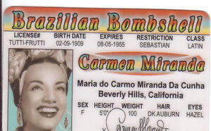 Carmen-Miranda-the-Brazilian-Bombshell-plastic-ID-card-Drivers-License