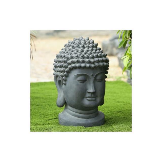 Luxen Home Buddha Head Gray Mgo Garden Statue For Sale Online