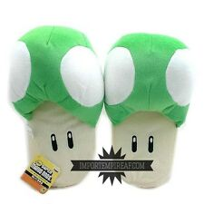 SUPER MARIO CIABATTE FUNGO VERDE pantofole green toad slippers mushroom new 1 up