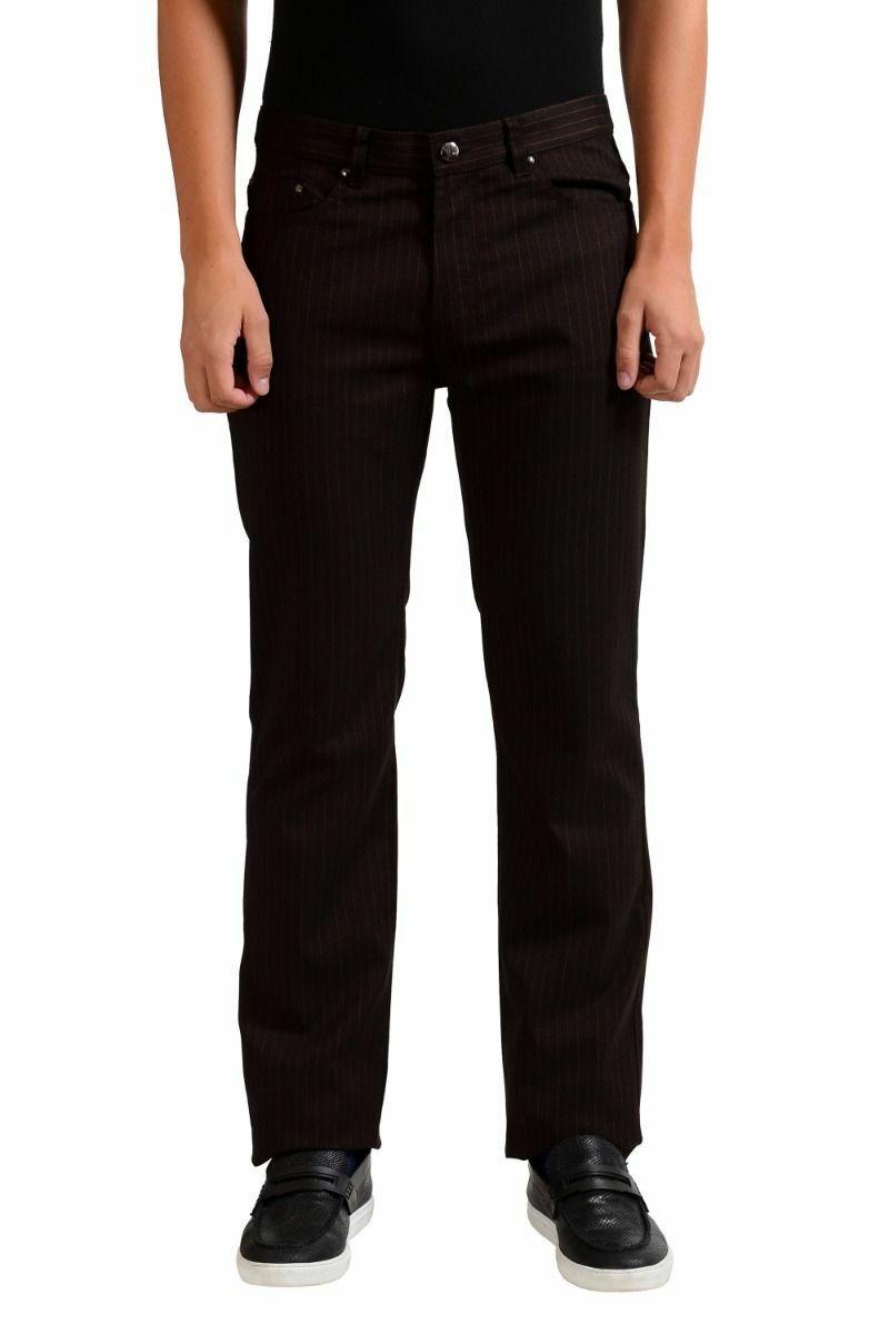 Versace Collection Uomo a Righe Jeans Stretch Taglia 34 36 38 40
