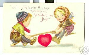 Old-Postcard-Valentines-Day-Children-Heart-Teeter-Totter
