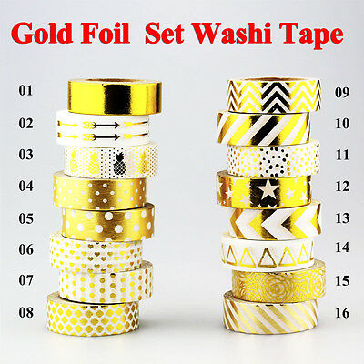 Cute Gold Foil Washi Tape Set Japanese Paper Adhesive Masking Tape 10m / Roll