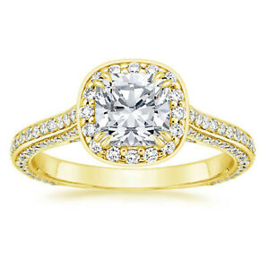 1.35 Ct Round Moissanite Engagement Brilliant Ring 18K Real Yellow Gold Size 4.5