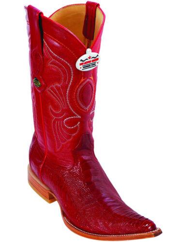 LOS ALTOS RED GENUINE OSTRICH LEG 3X TOE WESTERN COWBOY BOOT D