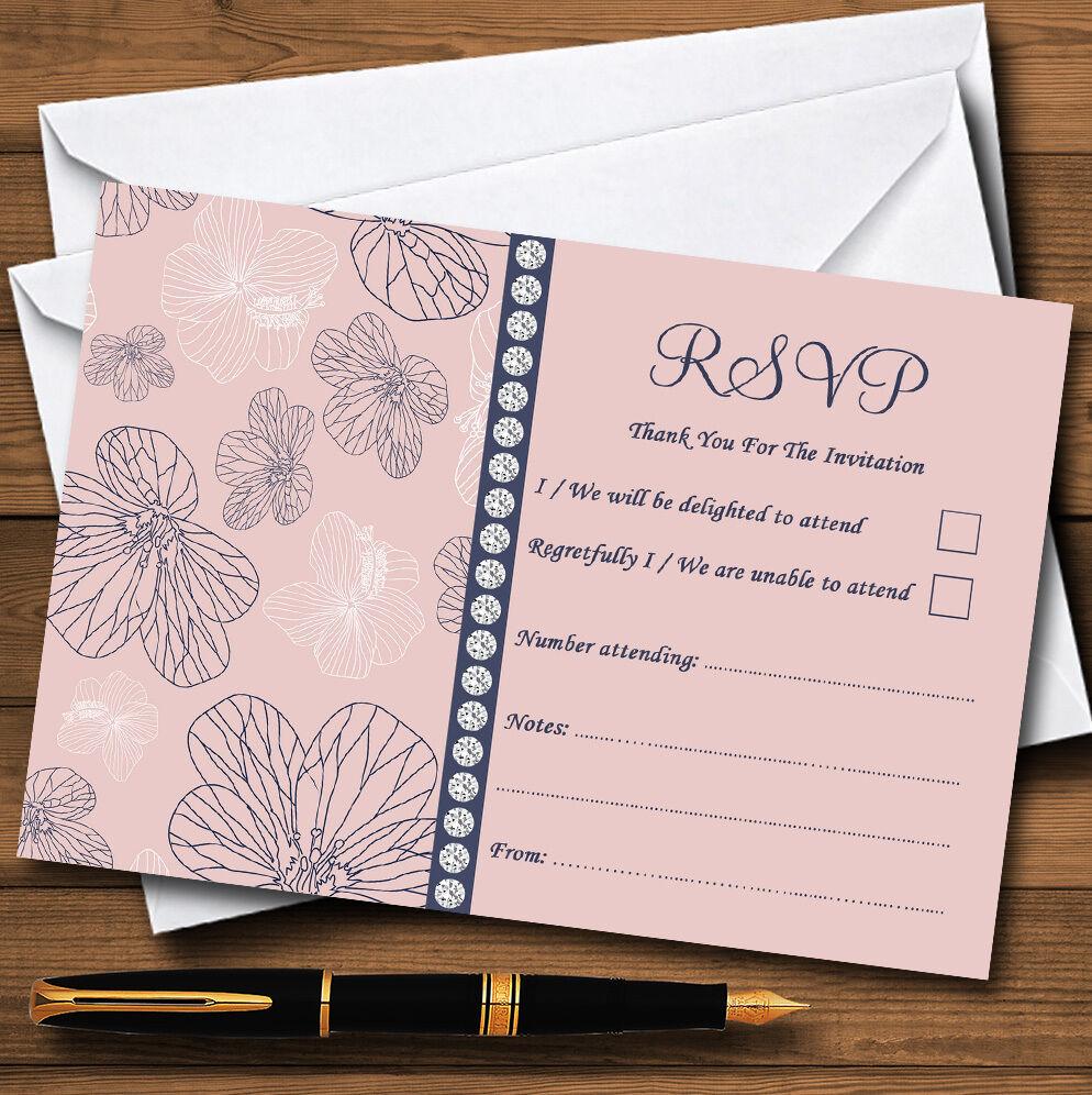 Dusty corallo rosa Rsvp e blu floreale personalizzata Rsvp rosa Carte f26231
