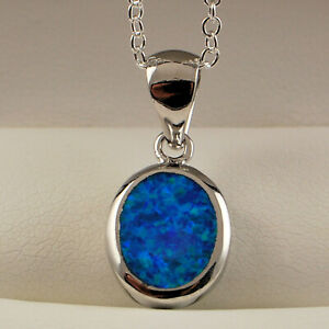 """**UK**STUNNING DETAILED  BLUE FIRE OPAL ANCHOR  PENDANT 20/"""" SILVER CHAIN."""