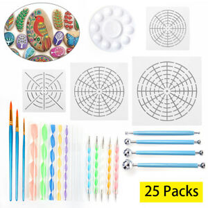 25Pcs-Set-Mandala-Dotting-Tools-Rock-Painting-Kits-Dot-Art-Pen-Paint-Stencil-AU