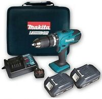 MAKITA CORDLESS 18v LITHIUM COMBI DRILL X2 Batteries, Charger, Case,COMPLETE KIT