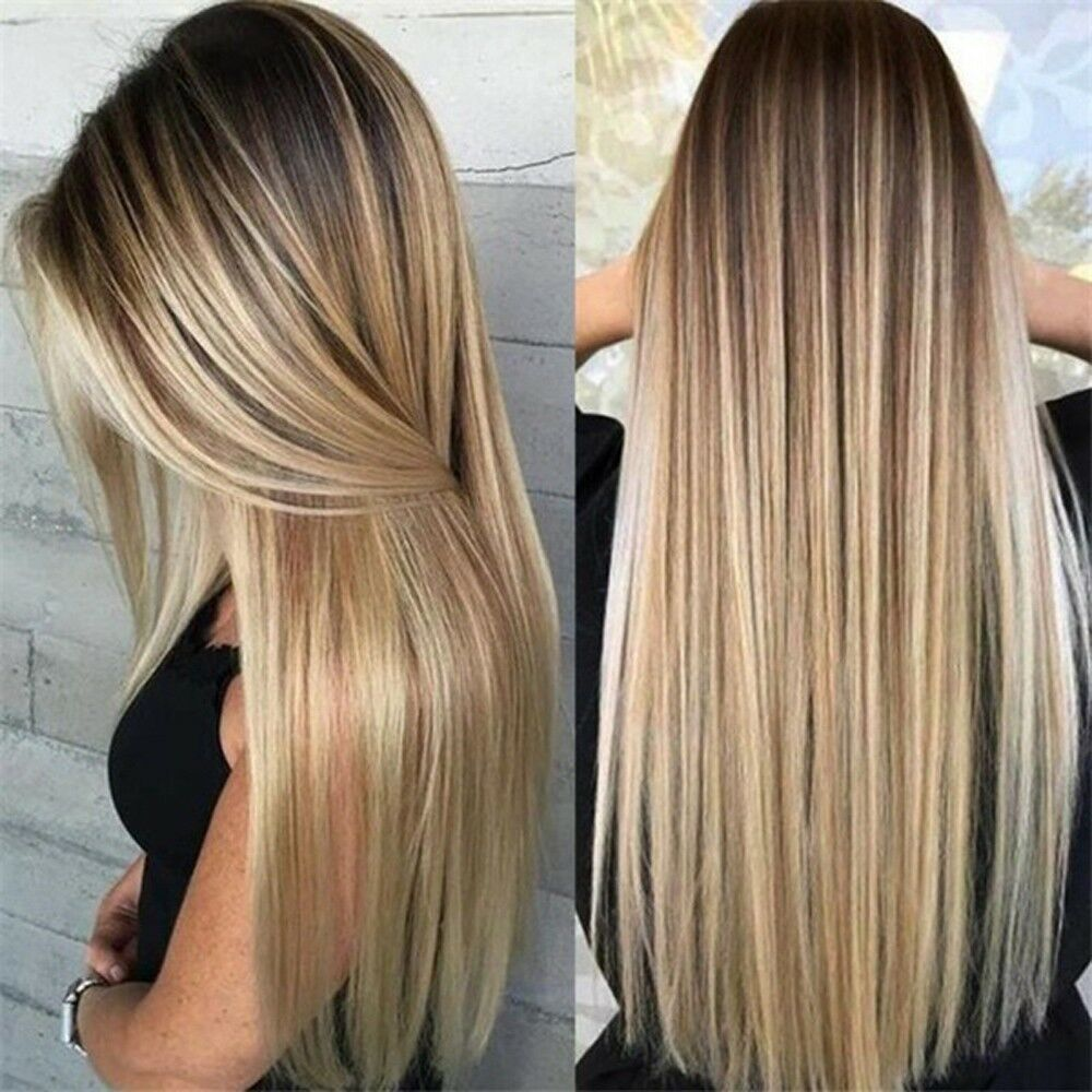 Details About Straight Long Ombre Full Head Wig Synthetic Brown Blonde Synthetic Hair Wigs
