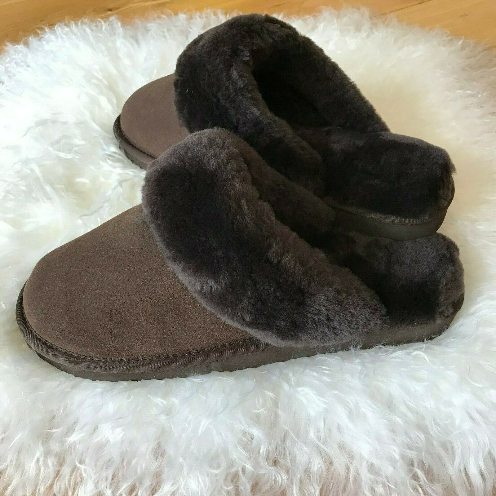 CO-SY Mens Genuine Leather Sheepskin Slip On Shearling Mule Slippers