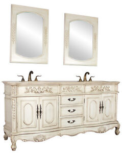 72 Double Lavatory Sink Bathroom Vanity Antique White Cabinet Furniture 003aw